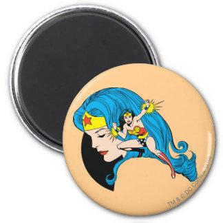 Wonder Woman Profile Background 6 Cm Round Magnet