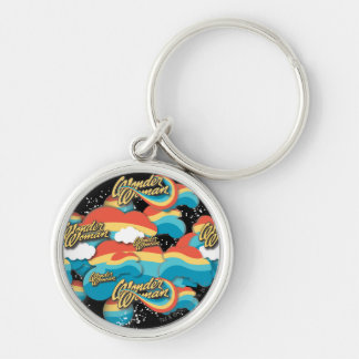 Wonder Woman Rainbow Clouds 1 Silver-Colored Round Key Ring