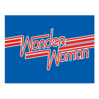 Wonder Woman Red and Blue Stripe Logo Postcard