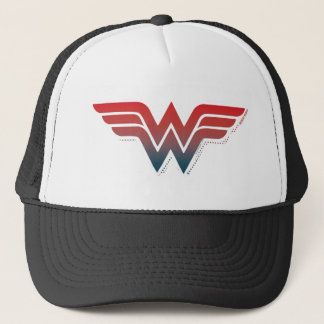 Wonder Woman Red Blue Gradient Logo Trucker Hat