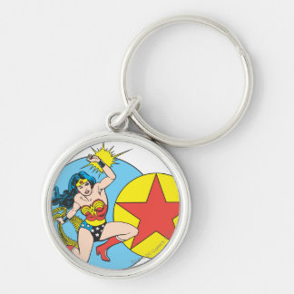 Wonder Woman Red Star Silver-Colored Round Key Ring