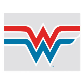 Wonder Woman Red White and Blue Logo Postcard