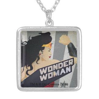 Wonder Woman Retro City Sunburst and Stars Silver Plated Necklace