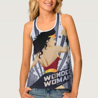 Wonder Woman Retro City Sunburst and Stars Tank Top