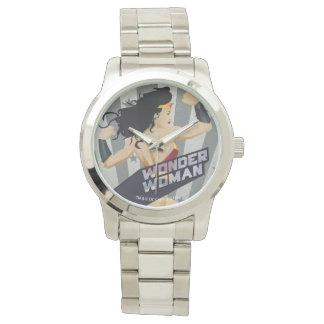 Wonder Woman Retro City Sunburst and Stars Wrist Watch