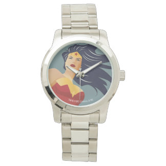 Wonder Woman Retro City Sunburst Wrist Watch