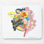 Wonder Woman Retro Flowers Mouse Pad
