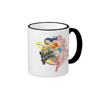 Wonder Woman Retro Flowers Ringer Mug