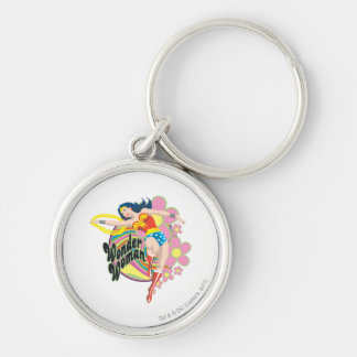 Wonder Woman Retro Flowers Silver-Colored Round Key Ring