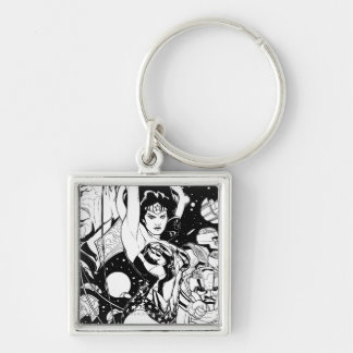 Wonder Woman Return of the Khundi B&W Silver-Colored Square Key Ring