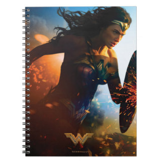 Wonder Woman Running on Battlefield Notebook