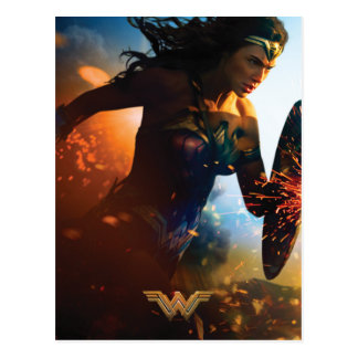 Wonder Woman Running on Battlefield Postcard