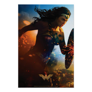 Wonder Woman Running on Battlefield Poster