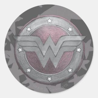 Wonder Woman Shield Pattern Classic Round Sticker