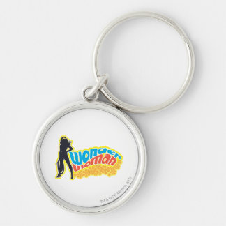 Wonder Woman Silhouette Silver-Colored Round Key Ring