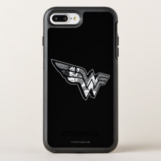 Wonder Woman Sitting In Angled Lace Logo OtterBox Symmetry iPhone 8 Plus/7 Plus Case