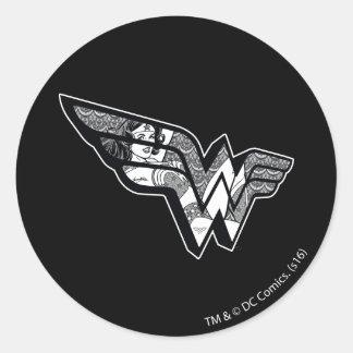 Wonder Woman Sitting In Angled Lace Logo Round Sticker