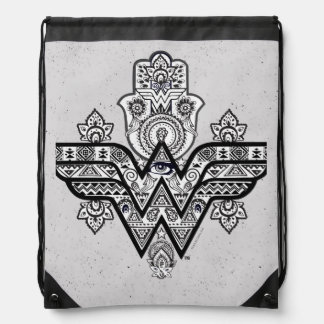 Wonder Woman Spiritual Paisley Hamsa Logo Drawstring Bag