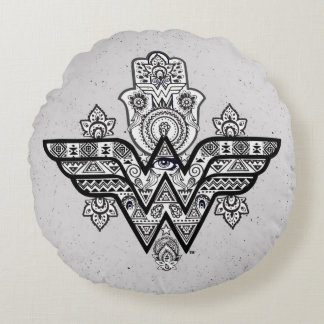 Wonder Woman Spiritual Paisley Hamsa Logo Round Cushion