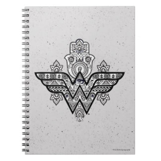 Wonder Woman Spiritual Paisley Hamsa Logo Spiral Notebook