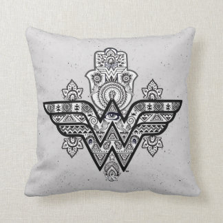 Wonder Woman Spiritual Paisley Hamsa Logo Throw Pillow