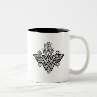 Wonder Woman Spiritual Paisley Hamsa Logo Two-Tone Coffee Mug