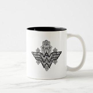 Wonder Woman Spiritual Paisley Hamsa Logo Two-Tone Coffee Mug