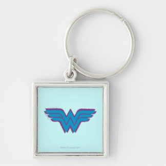 Wonder Woman Spray Paint Logo Silver-Colored Square Key Ring