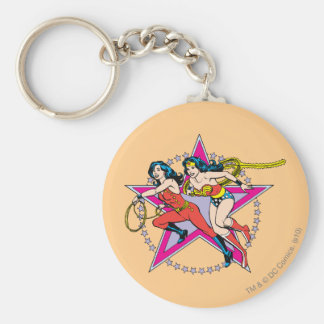 Wonder Woman Star Background Key Ring