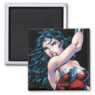 Wonder Woman Swinging Sword Square Magnet