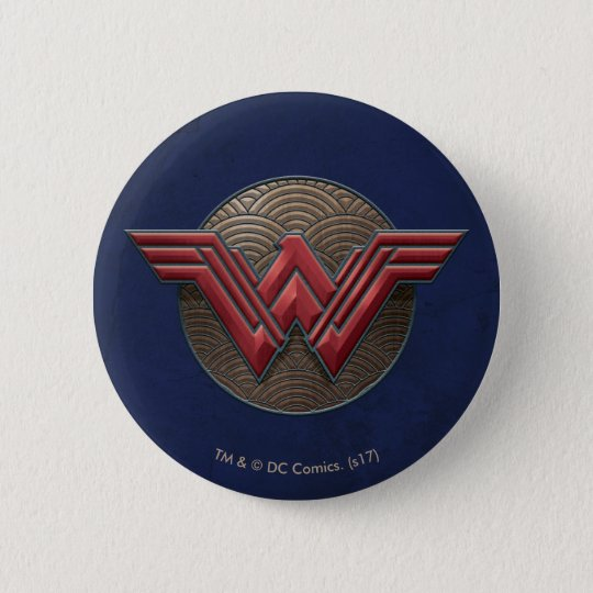 Wonder Woman Symbol Over Concentric Circles 6 Cm Round Badge