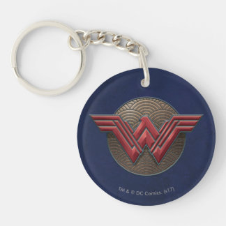 Wonder Woman Symbol Over Concentric Circles Key Ring