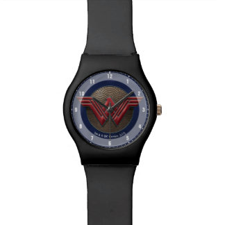Wonder Woman Symbol Over Concentric Circles Watch