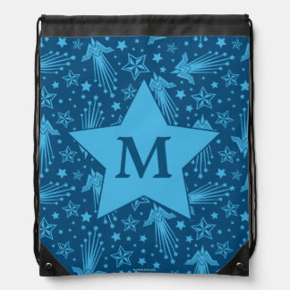 Wonder Woman Symbol Pattern | Monogram Drawstring Bag