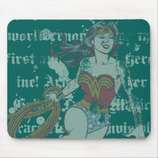 Wonder Woman Text Background Mouse Pad
