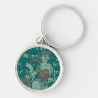 Wonder Woman Text Background Silver-Colored Round Key Ring