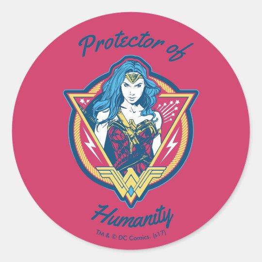 Wonder Woman Tri-Colour Graphic Template Classic Round Sticker