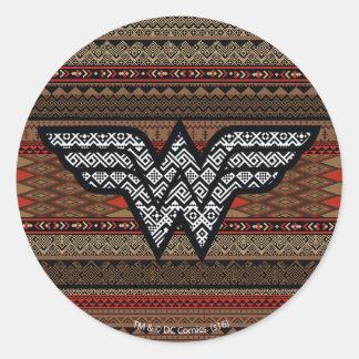 Wonder Woman Tribal Pattern Classic Round Sticker