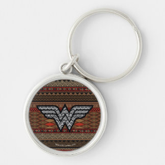 Wonder Woman Tribal Pattern Silver-Colored Round Key Ring