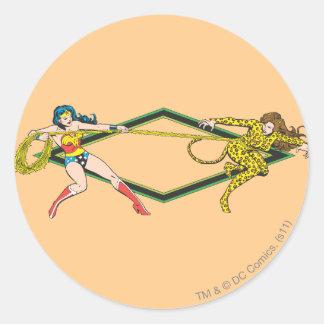 Wonder Woman vs The Cheetah Classic Round Sticker