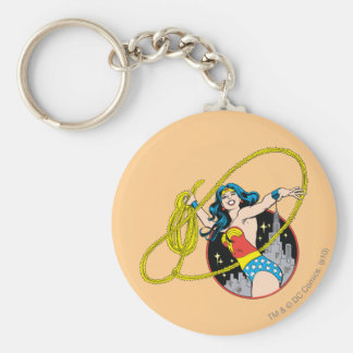 Wonder Woman with City Background Key Ring
