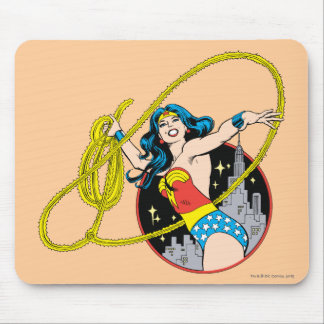 Wonder Woman with City Background Mouse Mat