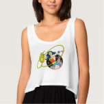 Wonder Woman with City Background Flowy Crop Tank Top