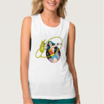 Wonder Woman with City Background Flowy Muscle Tank Top