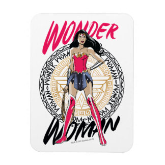 Wonder Woman With Greek Tribal Emblem Magnet