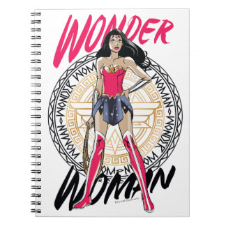 Wonder Woman With Greek Tribal Emblem Notebook