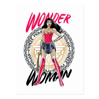 Wonder Woman With Greek Tribal Emblem Postcard