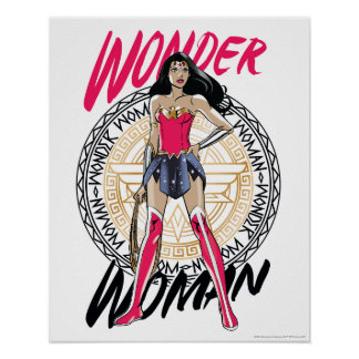 Wonder Woman With Greek Tribal Emblem Poster