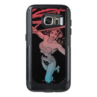 Wonder Woman With Lasso Red Blue Gradient Line Art OtterBox Samsung Galaxy S7 Case