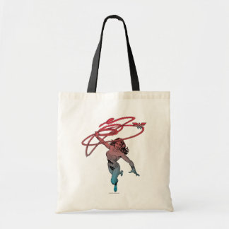 Wonder Woman With Lasso Red Blue Gradient Line Art Tote Bag